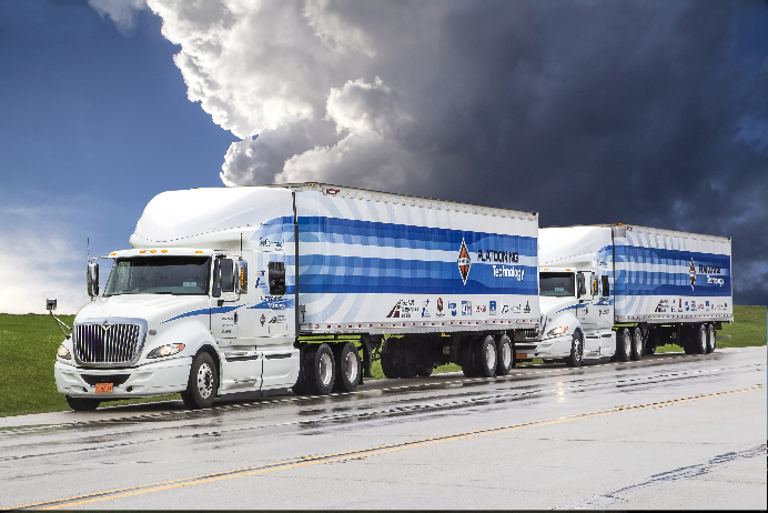 Semi-trucks used in a commercial truck platooning project.